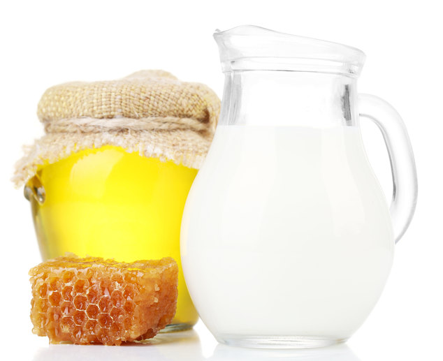 Honey and milk isolated on white